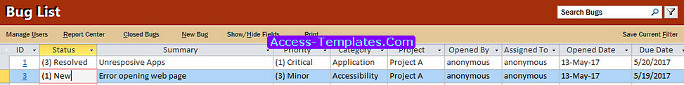 Bug Tracker Access Templates