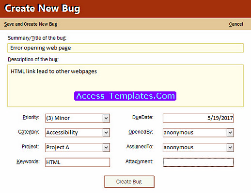 bug tracker in ms access