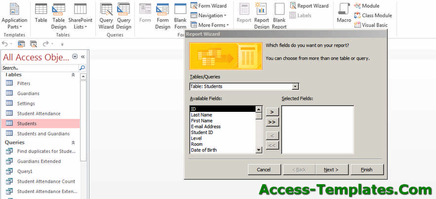 Create MS Access Reports - Step 1