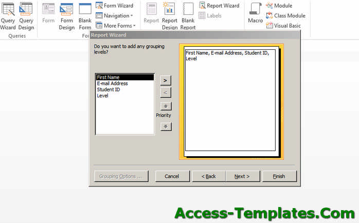 Create MS Access Reports - Step 2