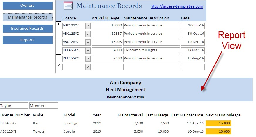 Microsoft access database templates for vehicle fleet for Fleet management report template