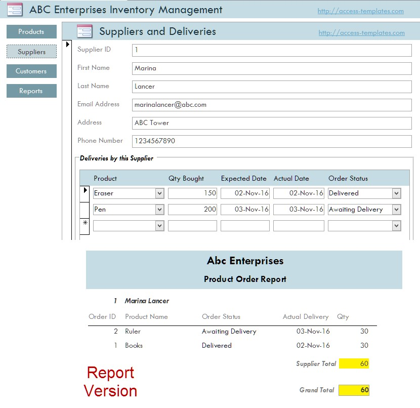 inventory management software in access templates