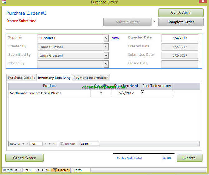 Access Templates Inventory Tracker for Small Business (10)