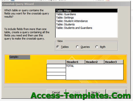 ms access total query