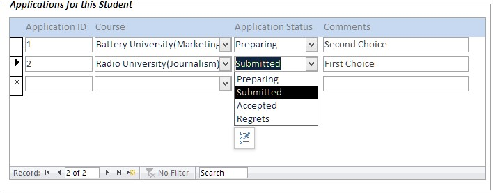 student database template