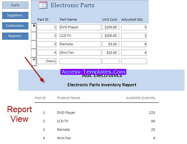 Access Templates Parts Billing Software for Retail Shop