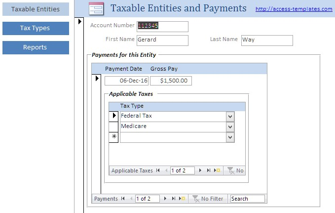 Payroll Tax Software for Microsoft Access
