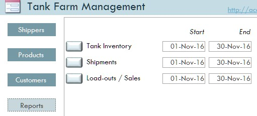 Tank Farm Microsoft Access Database Templates